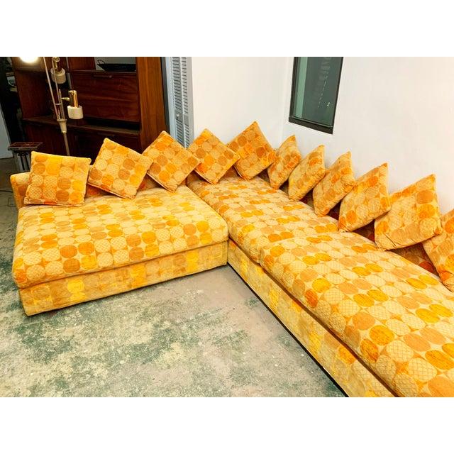 Jack Lenor Larsen Jack Lenor Larsen Milo Baughman Style Two-Piece L-Shaped Sectional Sofa For Sale - Image 4 of 13