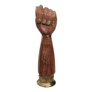 Antique Wood & Brass Human Hand Bottle Opener For Sale