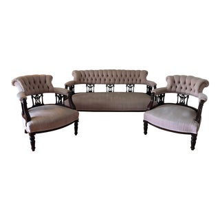 Antique Carved Victorian Tufted Button-Back Sofa Set For Sale