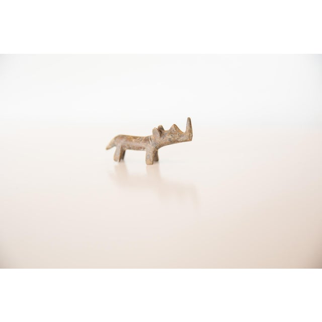 Old New House Vintage African Mini Tinted Bronze Rhino For Sale - Image 4 of 5