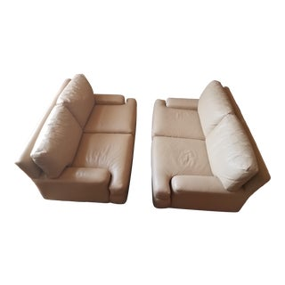 1990s Vintage Contemporary A. Rudin Custom Leather Loveseats - A Pair For Sale