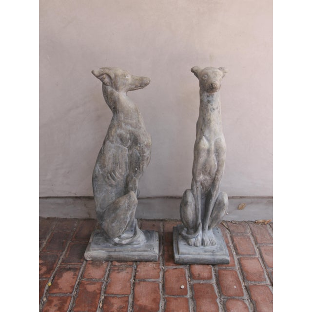 Greige Vintage Concrete Weathered Patinated Greyhound Dog Sculptures - a Pair For Sale - Image 8 of 8