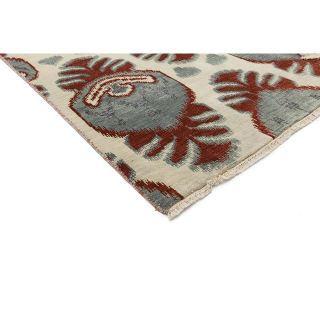 """New Ikat Hand Knotted Area Rug - 6'2"""" X 9'2"""" - Image 2 of 3"""