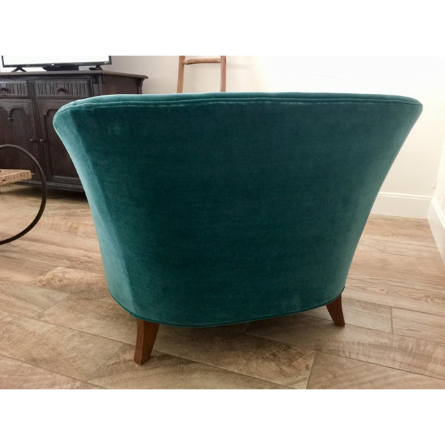 Contemporary Modern Anthropologie Teal Velvet Holloway Chair For Sale - Image 3 of 8