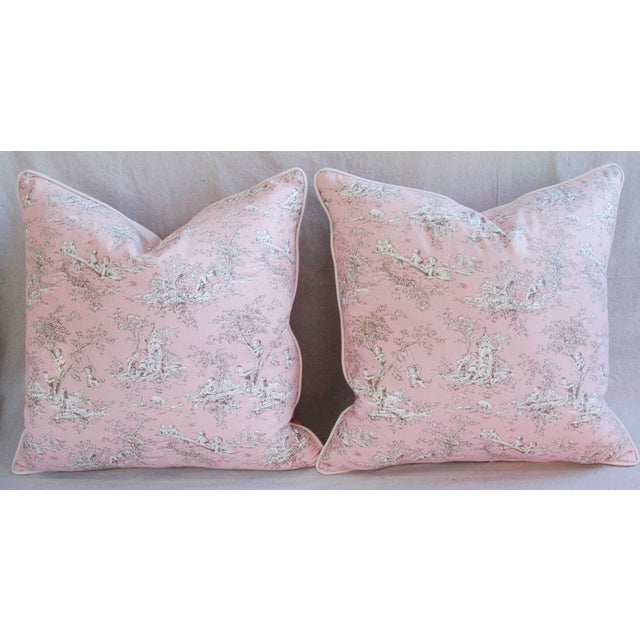 French Pink Toile & Velvet Pillows - A Pair - Image 2 of 11