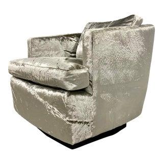 Restored Velvet Swivel Barrel Chair by Founders For Sale