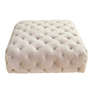 Velvet tufted Ottoman Coffee Table For Sale