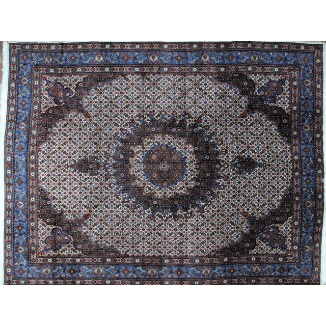 Wool pile genuine hand woven Persian Mood carpet with thick pile in mint condition.
