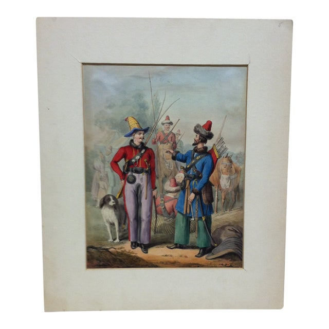 """Mid 19th Century Antique """"2 Soldiers Meet"""" Hand-Colored Matted Print For Sale"""