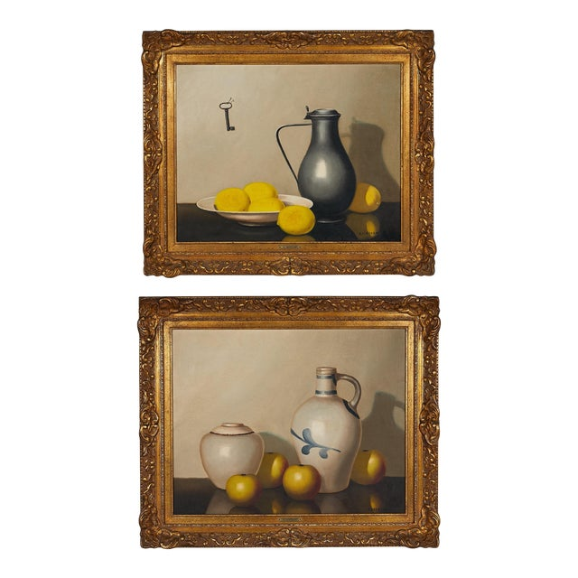 Pair of 19th Century Still Life Oil Paintings For Sale