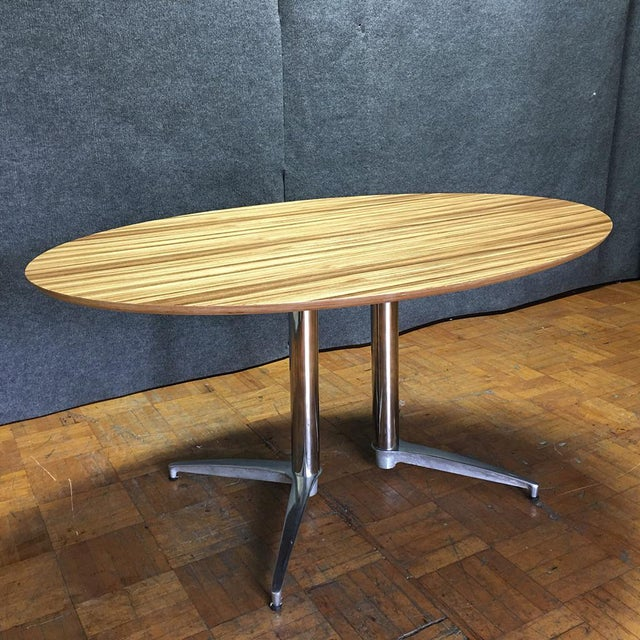 Crate & Barrel Modern Round Dining Table - Image 2 of 10