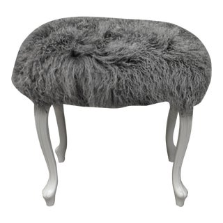 Curly Grey Lamb's Wool Skin Upholstered on a Painted Louis XV Style Bench For Sale