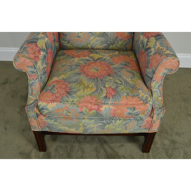Mahogany Southwood Chippendale Style Mahogany Frame Floral Upholstered Pair of Wing Chairs For Sale - Image 7 of 13