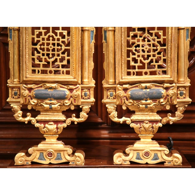 18th Century Italian Carved Polychrome & Gilt Wall Carvings - A Pair For Sale - Image 4 of 10