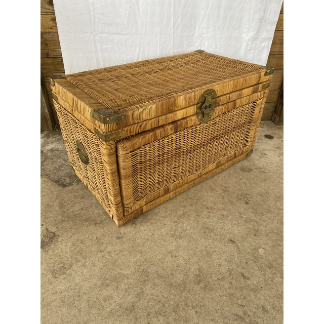 Vintage Coastal Wicker Braid Drop Down Front Trunk For Sale - Image 13 of 13