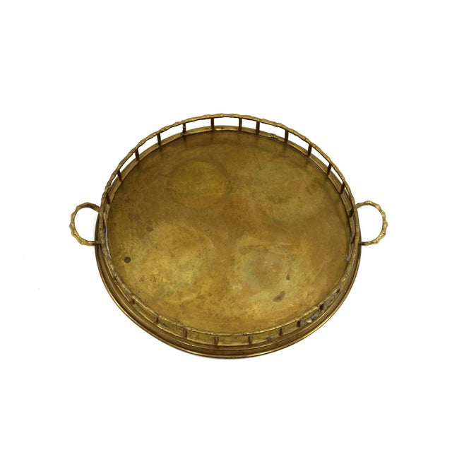 VIntage 1920s Brass Bamboo Serving Tray - Image 4 of 5