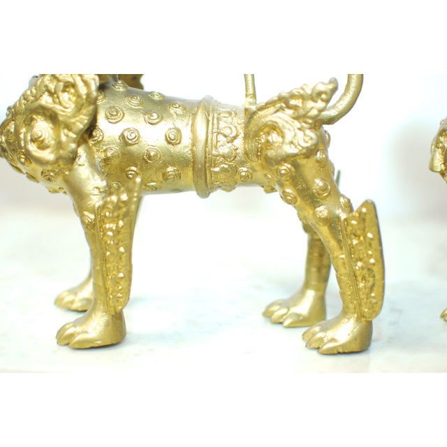 Brass Foo Dogs With Gilt Finish - A Pair - Image 5 of 6