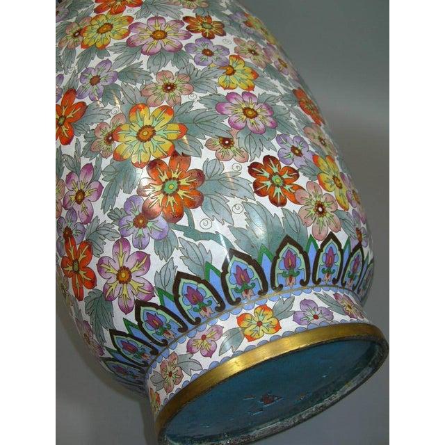 Large Vintage Chinese Millefleur Cloisonne Vase For Sale - Image 7 of 9
