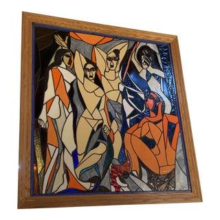 Mid Century Art Glass Artist Rendition of Picasso's Le Demoiselles D'avignon For Sale