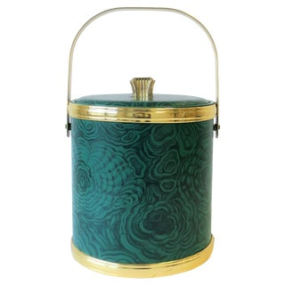 Green Malachite Style Ice Bucket by Georges Briard, Ca. 1970s For Sale