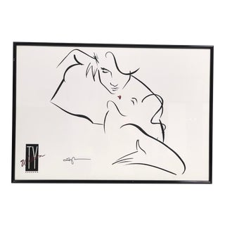 Ty Wilson Contemporary Erotic Line Drawing Print With Frame For Sale
