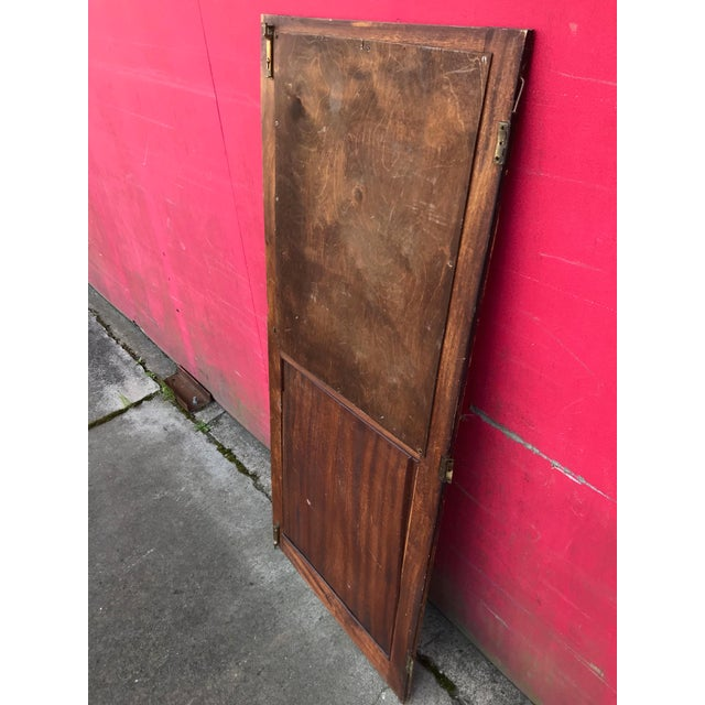Antique Architectural Fragment Mercury Mirror Panel Inset & Hardware Wood Door For Sale In Sacramento - Image 6 of 12