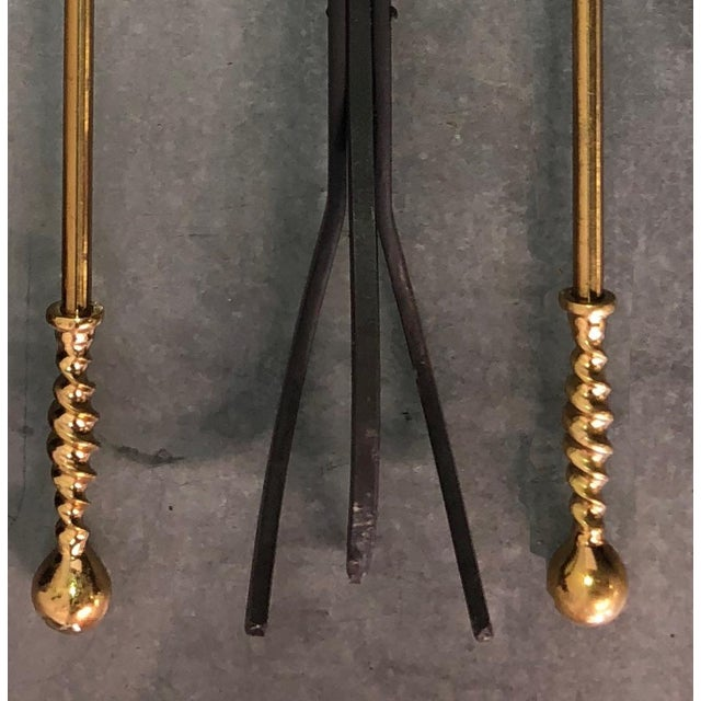 Gold Solid Brass Barley Twist Fireplace Tools - Set of 5 For Sale - Image 8 of 13