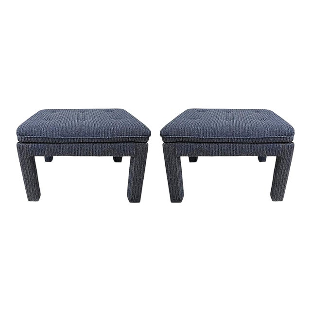 Mid 20th Century Blue Tweed Ottomans - a Pair For Sale