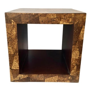Modern Marquetry Side Table With Open Storage For Sale