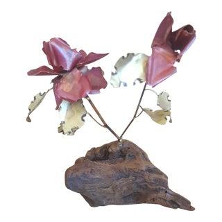 Vintage Brutalist Brass Roses Sculpture on Driftwood