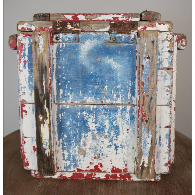 Early 19th Century Painted Wood Work Box W/ Metal Clasp and Handles For Sale - Image 5 of 13