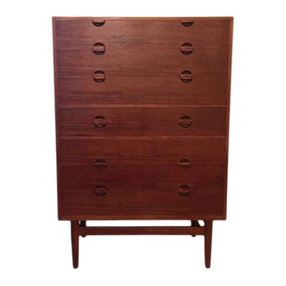 1960s Vintage Erik Worts Danish Mid Century Modern Highboy Chest of Drawers For Sale