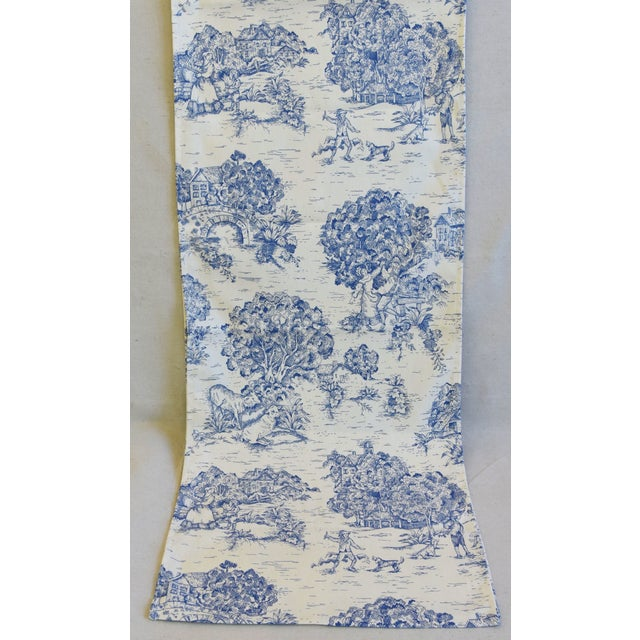"""Blue & Cream French Farmhouse Country Toile Table Runner 106"""" Long For Sale - Image 4 of 8"""