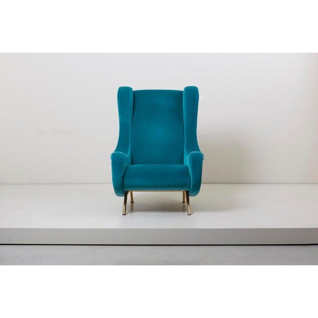 Mid-Century Modern Senior Lounge Chair in Blue Velvet by Marco Zanuso for Arflex, Italy, 1955 For Sale - Image 3 of 7