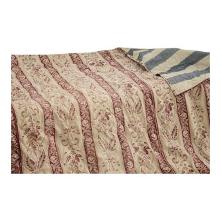 Antique 1860s French Handmade Blue Stripes Quilted Textile Fabric For Sale