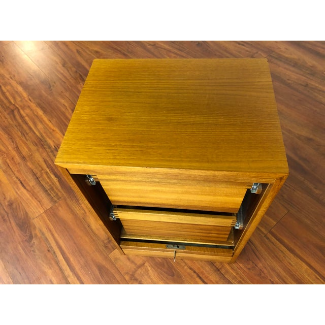 Wood Danish Teak File Cabinet With Drop Down Tambour Door and Two Filing Drawers For Sale - Image 7 of 11