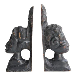 Antique Hand Carved Wooden Bookends - A Pair For Sale