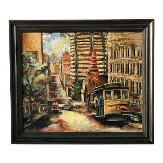 """Americana Harry Walker """"San Francisco Cable Car"""" Oil Painting on Board For Sale"""