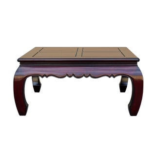 Chinese Red Brown Mahogany Color Solid Wood Square Craw Legs Coffee Table For Sale