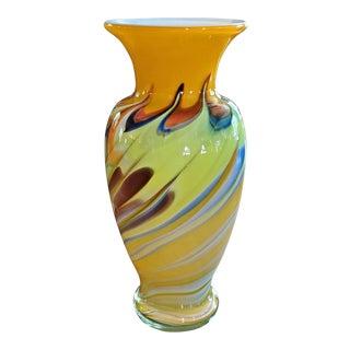 Mid-Century Modern Yellow Swirled Murano Glass Vase For Sale