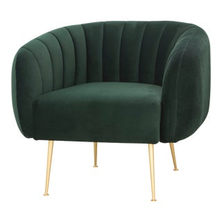 Dark Green, Brushed Brass Channeled Accent Chair For Sale
