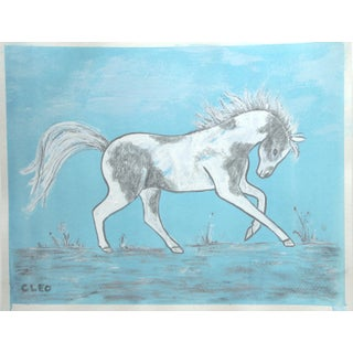Chinoiserie Horse Painting in Landscape by Cleo Plowden For Sale