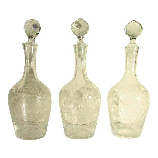 Antique Cut Glass Liqueur Decanters - Set of 3 For Sale