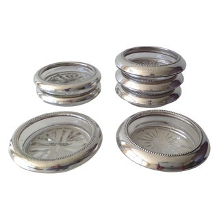 Sterling Silver & Glass Drinks Coasters - Set of 7 For Sale