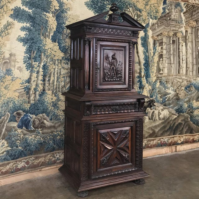 Louis XIII 19th Century Louis XIII French Walnut Two-Tiered Cabinet For Sale - Image 3 of 13