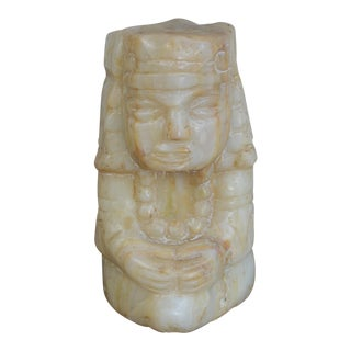 South American Carved Indigenous Alabaster Sculpture For Sale