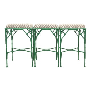 Geometric Green Metals Stools - Set of 3