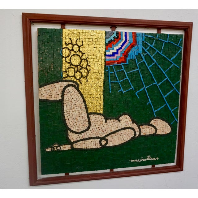 Yellow Early 21st Century Abstract Figurative Century Glass Mosaic Collage by Beltrame Massimiliano, Framed For Sale - Image 8 of 9