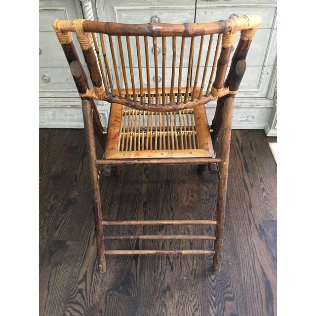 1970s Vintage Tortoiseshell Bamboo Folding Chair For Sale - Image 4 of 8