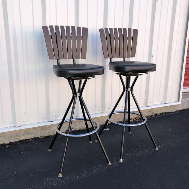 Mid-Century Modern Mid-Century Modern Swivel Bar Stools- A Pair For Sale - Image 3 of 11